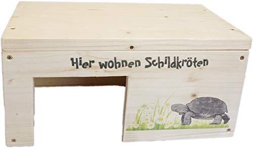 Nagerstore Schildkrötenhaus S Terrarium Schutzhaus mit Motiven & Holzlasur