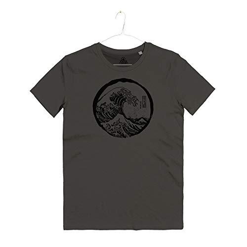 INSIDETSHIRT Maglietta Uomo La Grande Onda Kanagawa Arti Marziali Tai Chi Japan Okusai Great Wave T-Shirt Man (Storm Grey, M)