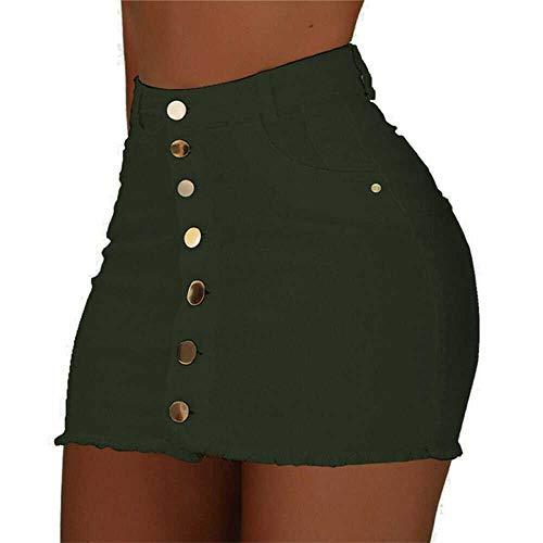 Falda de Mezclilla Streetwear Falda de Borde Deshilachado Estilo de Moda Botn de Mujer Mini Faldas Chica Mujer Streetwear Strench Faldas