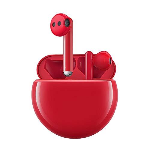 HUAWEI FreeBuds 3 - Auriculares inalámbricos con cancelación de Ruido Activa (Chip Kirin A1, Baja latencia, conexión Bluetooth ultrarrápida, Altavoz de 14.2 mm, Carga inalámbrica), Color Rojo