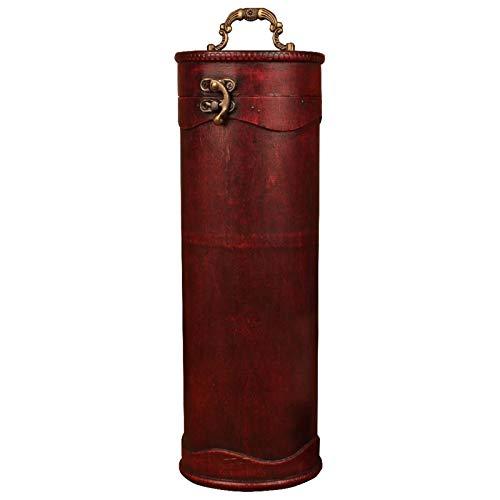 Caja De Vino Tinto Retro antigüedad antigua caja de vino portátil redondo de madera caja de vino retro caja de almacenamiento de vino embotellada con asa ( Color : Marrón , Size : 34x11.5x11 cm )