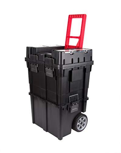 XXL Werkzeug-Trolley leer mit Rollen 65 x 37 x 34 cm - 2 Werkzeugboxen mit Organizer - Kleinteilefächer - Großer Werkzeug-Koffer auf Rädern inkl. Teleskopgriff - Harter Kunststoff