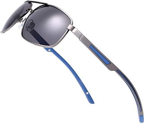 The Fresh Classic - Gafas de sol rectangulares polarizadas con marco de metal retro