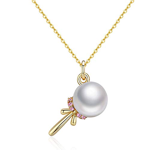 YFFSP Halskette S925 Sterling Silber Perle Unregelmäßige Sterling Silber Halskette mit Natürlicher Süßwasserperle Anhänger für Frauen Schmuck 40 cm + 4 cm