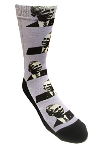 EXIT82ART - Crew Style Wild Socks. BARACK OBAMA. 1 Pair, Cotton/Polyester blend, padded foot and heel, one size fits most, UNISEX, Men's/Women's (size 7-13). Printed in Austin, Texas.