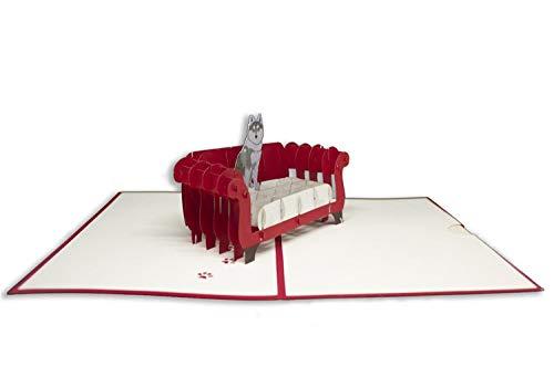 Tarjeta de felicitación de Origami Sorprise, perro en el sofá