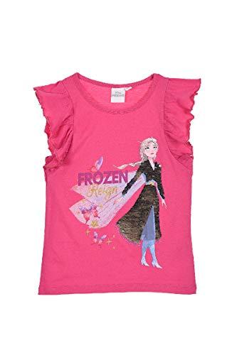 Eiskönigin 2 T-Shirt Wende Pailletten Frozen Mädchen Anna und ELSA (Pink, Gr. 128)