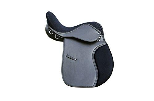 Pets2Care Synthetik-Sattel mit Wildledersitz, Premium-Qualität, breite Passform, Schwarz und Braun 16, 17 und 18 (Schwarz, 17)