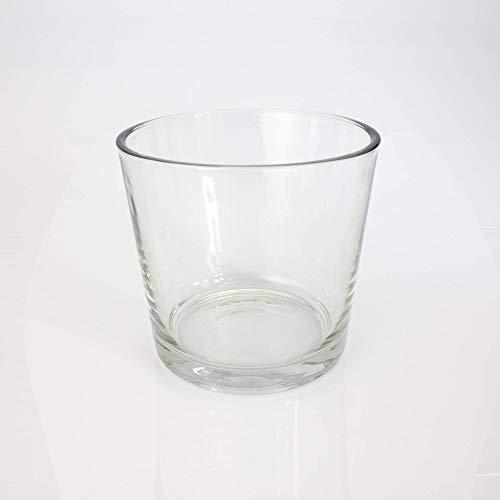 INNA-Glas Runde Vase - Blumentopf Alena, klar, 16cm, Ø 17cm - Dekovase - Konisches Glas