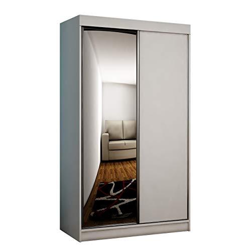 Mirjan24 Kleiderschrank Toplo 100 II, Elegantes Schlafzimmerschrank, Spiegel, 100 x 200 x 62 cm, Dielenschrank, Garderobenschrank, Schwebetürenschrank (Weiß, ohne Beleuchtung)