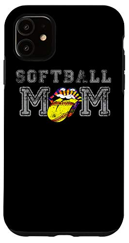 iPhone 11 Softball Mom Tie Dyed Happy Smile Tongue Team Dirt Best Fan Case