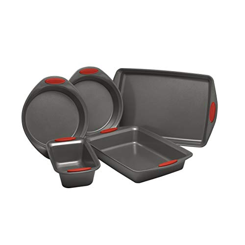 Rachael Ray Nonstick Bakeware with Grips includes Nonstick Bread Pan, Baking Pan, Cake Pans and Cookie Sheet / Baking Sheet - 5 Piece, Gray with Red Grips