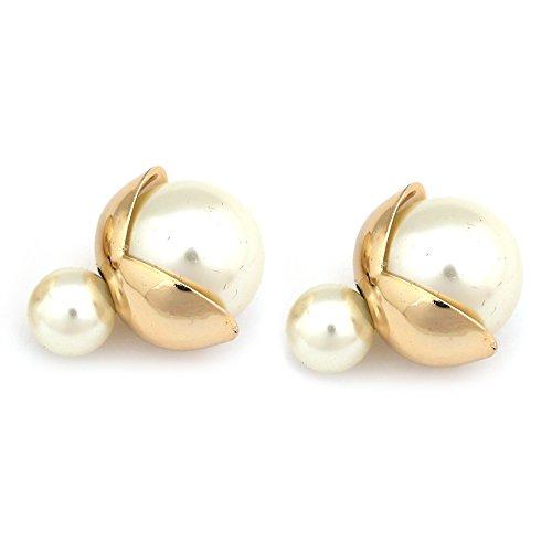 Idin–Pendientes con doble cara, perla de resina color marfil con hoja dorada (aprox. 8 y 18 mm)