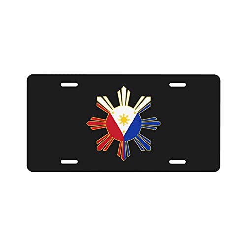 PARKNOTES Filipino Flag License Plate Aluminum Car Front Decoration Auto Metal Car Plate Vanity Tag 6' X 12'