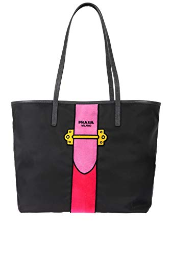 Prada Womens Black Tessuto Ricamo Shopping Tote Pink Velvet Accent 1BG065 Run your errands in style with this cute and perfectly sized Prada tote bag. A great addition to your daily routine, this bag will keep your necessities within reach. Bag featu...