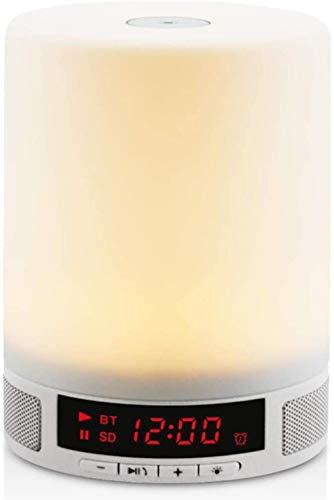 Wakker worden Wekker, Tafellamp Nachtlampje met LED Draadloze Bluetooth-luidspreker Kleurrijk licht en trillingssensor voor volwassenen, Kinderen, Slaapkamer