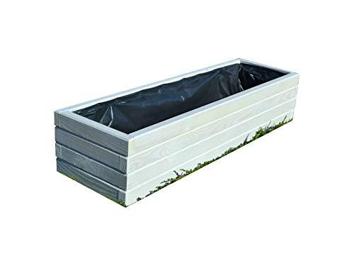 Nouveau bac à fleurs en bois tOP pot de fleurs pour jardin et terrasse montée d2–blanc 100 cm