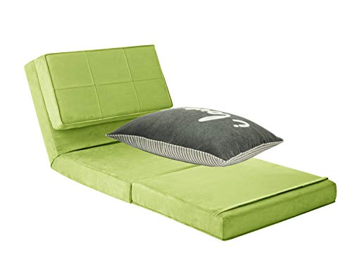 Your Zone - Flip Chair Convertible Sleeper Dorm Bed Couch Lounger Sofa and Decorative Pillow Bundle, Green Glaze