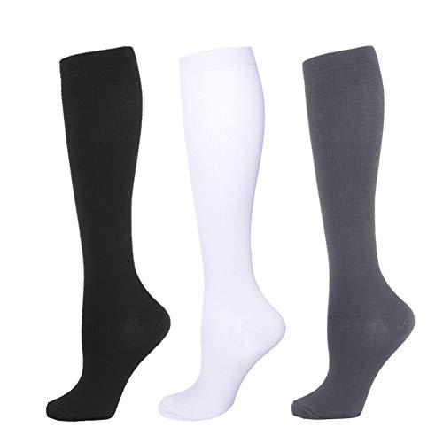 Kompressionsstrümpfe für Damen Herren- 3 Paar Kompressionssocken Compression Socks Thrombosestrümpfe Strümpfe Kompression Laufsocken für Sport Flug Reisen Medizinische