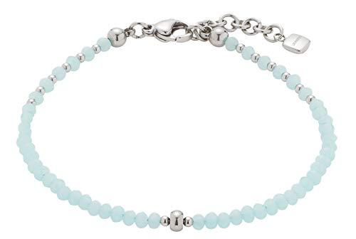 Jewels by Leonardo Damen-Armband Marittimo, Edelstahl mit hellblauen Schliff-Glasperlen, mit Karabinerverschluss, Länge 170 mm, 016836