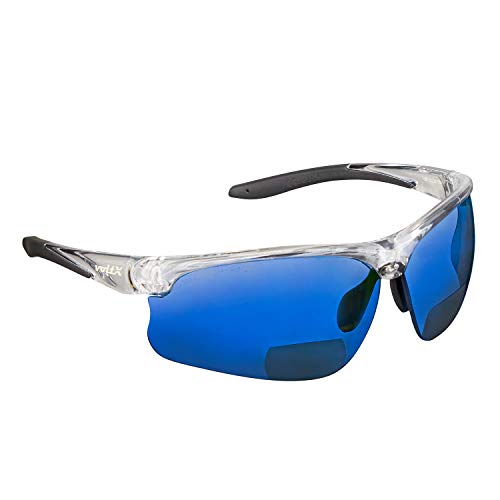 voltX 'CONSTRUCTOR ULTIMATE' Occhiali di sicurezza da lettura bifocali (Montatura trasparente, Lenti a specchio blu + 3.0 Diottrie) Certificazione CE EN166FT, Bifocali Cycling Sports - UV400