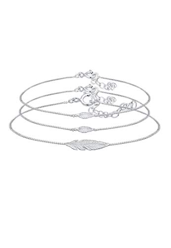 Elli Armband Damen Feder Boho Mutter Kind Panzerkette in 925 Sterling Silber