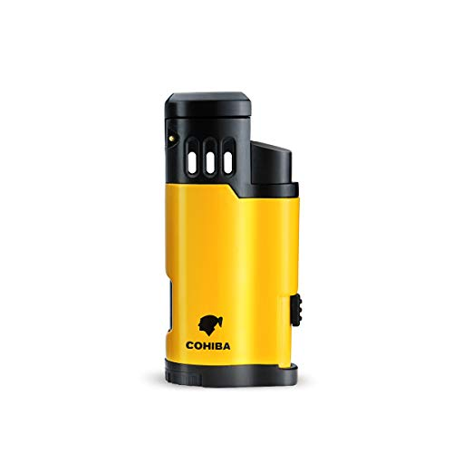 Cigar Torch Lighter 3 Jet Torch Strong Flame Butane Refillbale Windproof High Quality Lighter with Punch Best Lighters Without Gas (Yellow)