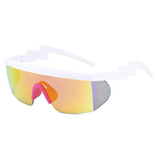 Gafas De Sol Polarizadas para Hombres Antirreflejos Protección UV Patillas Onduladas Blancas Lentes Naranjas Gafas De Sol Gafas De Ciclismo para Exteriores Deportes Conducción Gafas De Cic