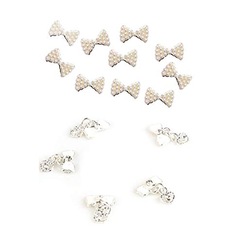 SNOWINSPRING 10x Pearl Bows 3D Nail Art Nail Stones & White Bow Tie Heart 10 Pieces 3D Alloy Nail Art Slices Glitters