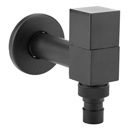 Grifo Negro Latón Lavadora Cuadrada Grifos Montaje En Pared Lavandería Agua Fría Grifo para Baño(#1)