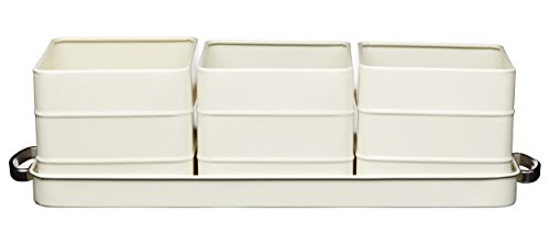Kitchen Craft - Kit di vasetti in Metallo e sottovaso, Misura 40x 12x 10,5cm, Modello Living Nostalgia Antique Cream