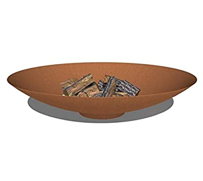 Round Wood Adezz 100cm Corten Steel Fire Pit/Fire Bowl/Garden Heater by Round Wood