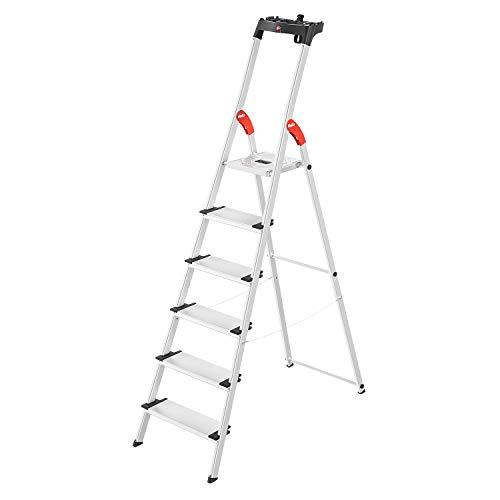 Hailo L80 ComfortLine Alu-Sicherheits-Stehleiter | 6 XXL-Stufen belastbar bis 150 kg | tiefe Standfläche |Stehleiter mit Ablage | klappbare Aluleiter made in Germany | Leiter rostfrei | silber
