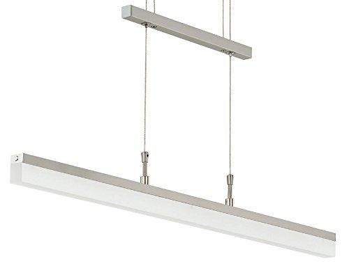 Trango Design dimmbare LED Pendelleuchte in Nickel matt TG2014-042A I Esstischleuchte höhenverstellbar I LED Hängelampe I Deckenleuchte I LED Wohnzimmerlampe I Deckenstrahler I Innenleuchte