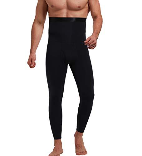 QUAFORT Men's High Waist Body Shaper Compression Leggings for Tummy Control Baselayers Sports Pants Slimming Tights Underwear Black