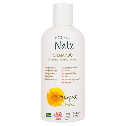 Eco by Naty, shampooing, ingrédients 100% d'origine végétale sans parfum, hypoallergénique et testé dermatologiquement, flacon de 200 ml