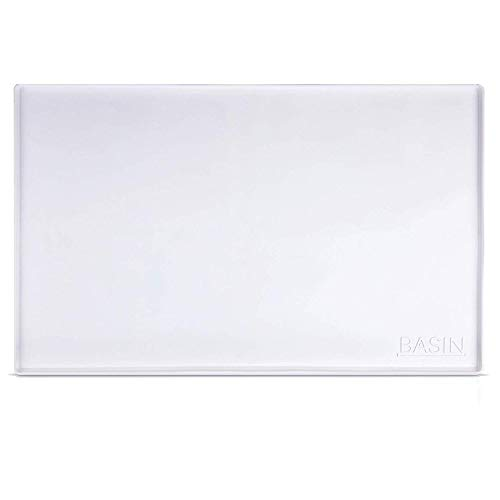 """White Silicone Under Sink Mat for 36""""+ cabinets. (34"""" x 21"""", Holds 2 Gallons) Large silicone cabinet liner with lip."""