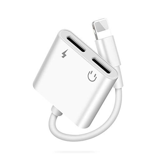 【Apple MFi Certificado】 Adaptador de Auriculares Lightning a Jack de Lightning para iPhone,Distribuidor de cable de música de carga 5 en 1 Compatible para iPhone 12/12 Pro Max/11/SE/XS/XS MAX/XR/X/8/7