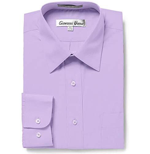 Gentlemens Collection Men's 1915 Long Sleeve Slim Fit Dress Shirt - Lavender - 16.5 4-5