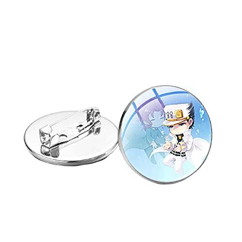 Anime JoJos Bizarre Aventura Broches Pins Figuras Arte Imagen Gafas Domo Solapa Botón Kawaii Para Amigos Niños Regalo
