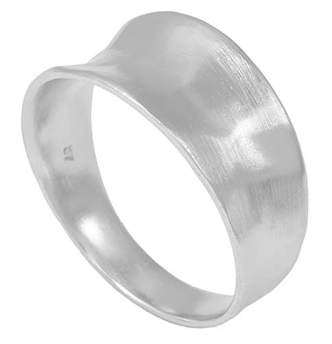 Pernille Corydon Damen Ring Silber Saga gehämmerte Oberfläche breiter Damenring mit Vertiefung Matt 925 Silber - Größe 52 - R411s-52