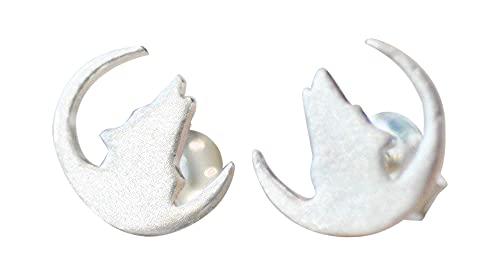 Howling Wolf Earrings in Sterling Silver 925
