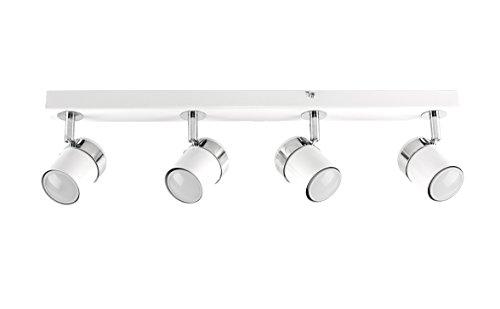 MiniSun – Moderna Lámpara de Techo – Barra de 4 Focos Orientables – Color Blanco - Regleta de Luz - Iluminación Interior