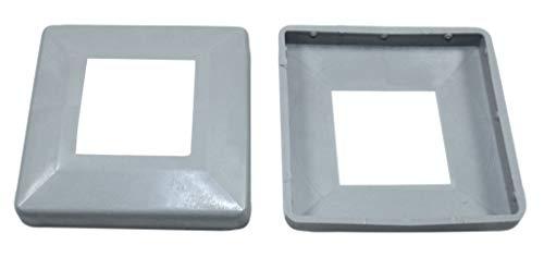 SN-TEC Abdeck Rosetten Eckig für Geländer | Rohre | Heizungen usw, Schwarz/Weiß/Grau (10 Stück) (Aussen 60x60mm / Innen 25x25mm, Grau)