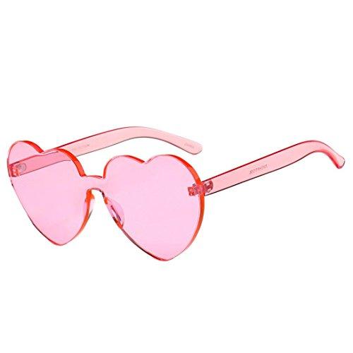 Rawdah Moda Donna Occhiali da sole a forma di cuore Occhiali da sole colorati con trattamento UV400 Retro Eyewear Sunglasses (B)