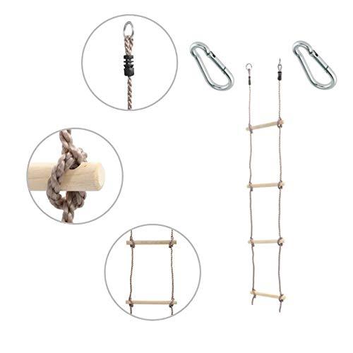 1 Stück h2i Kinder Strickleiter Kletterleiter 150 cm 4 Sprossen mit Karabiner zum Einhängen