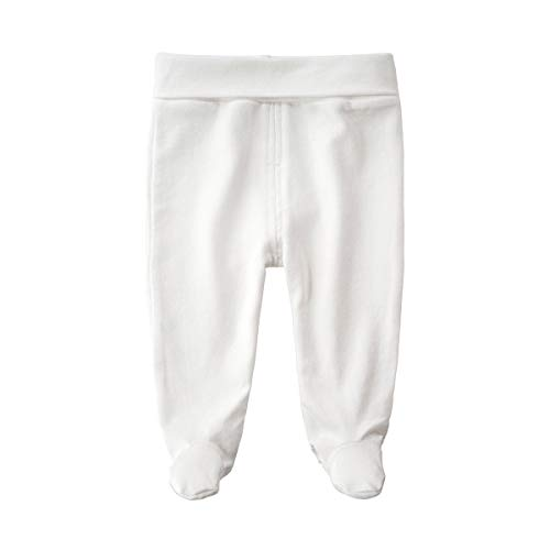 Teach Leanbh Baby Cotton High Waist Footed Pants Casual Leggings 0-12 Months (3-6 Months, White)