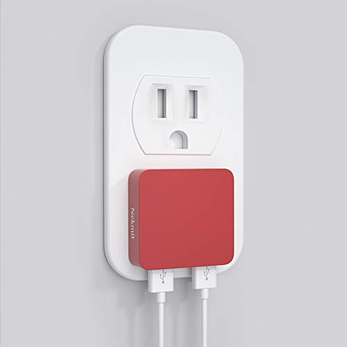 Nekmit Dual Port Ultra Thin Flat USB Wall Charger with Smart IC, Red