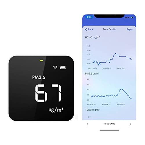 Temtop M10i Monitor de Calidad del Aire Interior WIFI, Control de Calidad de Ambiente de su Hogar, Detector Prueba Precisa de PM2.5, HCHO, TVOC, AQI, Medidor de Calidad del Aire portátil