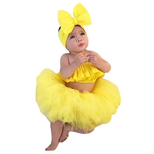LEXUPE Neugeborene Baby Mädchen Outfits Kleidung Schulterfrei Tops + Tutu Tüllrock Set(Gelb,90)